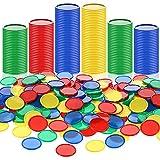 400 Fichas de Póquer de Plástico Tarjeta de Fichas en Blanco de Contadores de Aprendizaje Pequeños de 4 Colores 1 Pulgada para Juego Matemáticas Recompensa