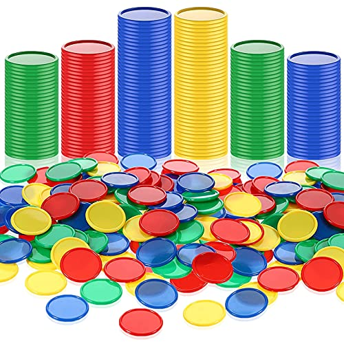 Skylety 400 Pièces 1 Pouce Jetons de Poker en Plastique 4 Couleurs Petits Compteurs d'apprentissage Carte à Puces Vierges pour Jouer au Jeu Apprentissage de Mathématiques, Bleu, Rouge, Vert, Jaune