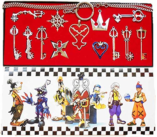 Gioco Metal Keys Keyblade Types Sword Weapon Pendant Portachiavi in Argento Dorato Collana con Ciondolo Accessori Cosplay, 13 Pezzi