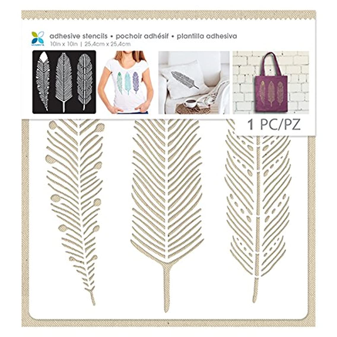 Momenta 3 Feathers Adhesive Fabric Stencil
