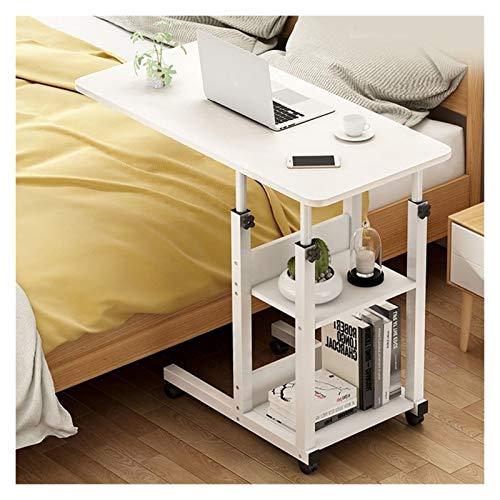 Höhenverstellbar Laptoptisch, Mit Rollen Computertisch, Bett-Beistelltisch for Krankenbett, Pflegebett, Mit 2 Schichten Frühstückstisch Home Office (Color : B, Size : 60x40cm)