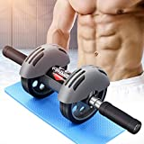 OTEKSPORT Ab Roller Wheel with Thick Knee Mat for Abdominal Fitness Core Exercise,Abs Strength Training for Home Gym Full Body Muscle Workout, Double Wheel
