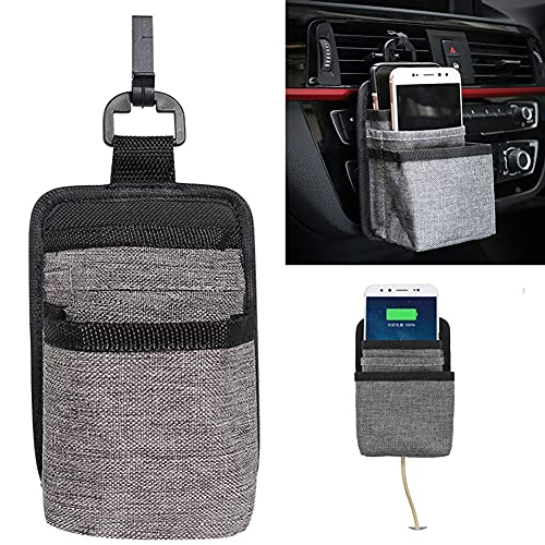 ZZZDirge Car air outlet storage bag is super durable, Anti-loose reinforced corners and the bottom can be connected to the charging cable, Suitable for placing mobile phones, Bank cards, Notebooks and other scattered items