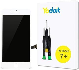 Yodoit Pantalla para iPhone 7 Plus Blanco, 5.5'' Retina Display, Táctil LCD de Repuesto Ensamblaje de Marco Digitalizador Contiene Herramientas + película de Vidrio Templado