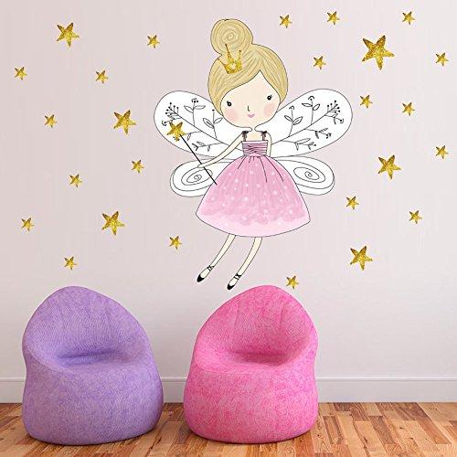 Sterne Cartoon Fee Mädchen Wandaufkleber Abnehmbare Pvc Magie Prinzessin Abziehbilder Für Kinderzimmer Mädchen Geschenk Poster Diy Wohnkultur