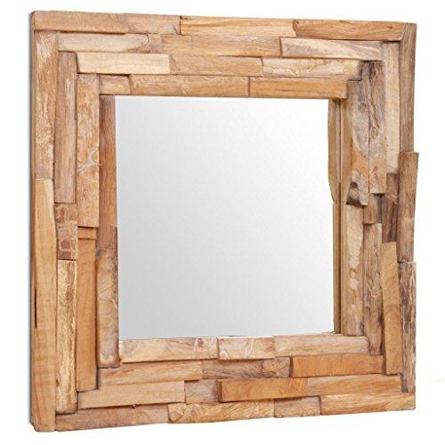 vidaXL Teak Dekorativer Spiegel Handgefertigt mit 2 Aufhängehaken Holzspiegel Wandspiegel Flurspiegel Dekospiegel Hängespiegel 60x60cm