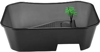 Dooti爬虫類・両生類用ケース 亀箱 水槽 爬虫類飼育箱 プラスチック製 日光浴 5エリア仕切り 小型 透明 爬虫類テラリウム テラピンタートルタンク(ブラック)