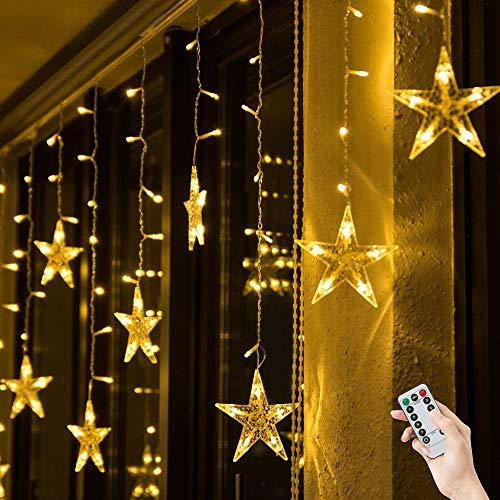 BLOOMWIN Lichtervorhang Stern Lichterkettenvorhang USB 3x0,65M 120LEDs 8Modi Stimmungslichter Weihnachtsbeleuchtung für Fenster Tür Innen Sternenvorhang Warmweiß