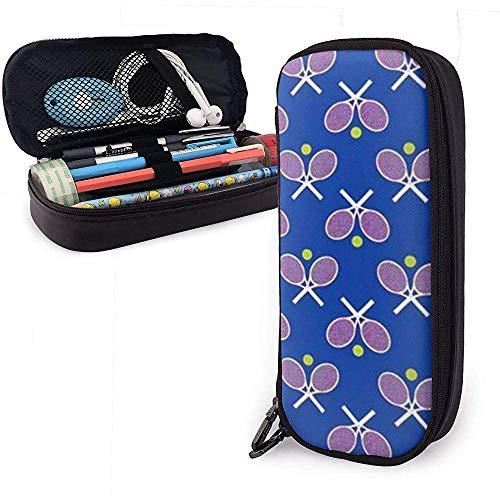 Tennisschläger Blau Nette Stift Federmäppchen Leder Große Kapazität Doppelreißverschlüsse Bleistiftbeutel Stifthalter Box 20 cm * 9 cm * 4 cm