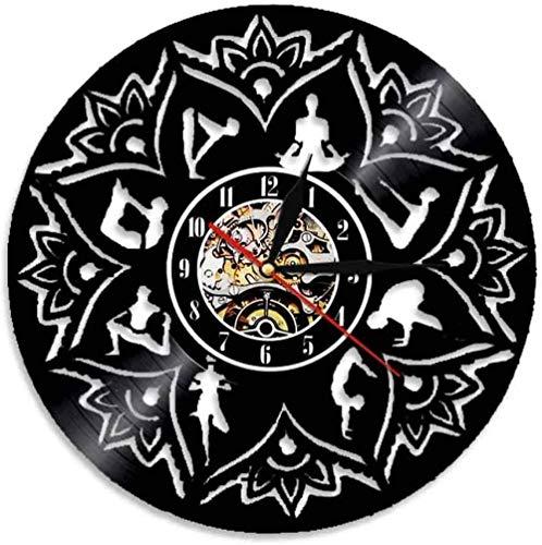 ZZLLL Reloj de Pared de Vinilo Reloj de Yoga Reloj de Pared de Vinilo Reloj de Pared de Sala de Estar Reloj de Pared Decoración del hogar Tranquilo Disfrute silencioso