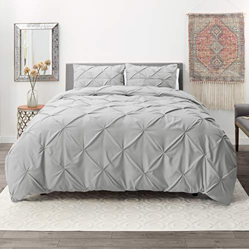 Nestl Bedding 3 Piece Pinch Pleat Duvet Cover Set | Silver Duvet Cover with 2 Pillow Shams |Microfiber Full Duvet Cover Set