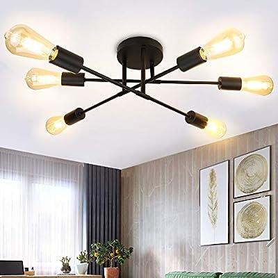 Depuley 6-Light Vintage Sputnik Chandelier, Modern Adjustable Arm Semi Flush Mount Ceiling Light, Industrial Kitchen Lamp Fixture, Pendant Lighting for Dining Room, Living Room, Foyer, Black, E26 Base