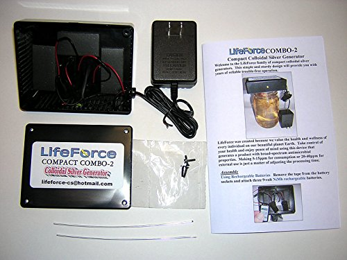 Compact Combo-2 Basic Colloidal Silver Generator Package by LifeForce Devices (14 Gauge 9999 Pure Silver Wires (Pair))