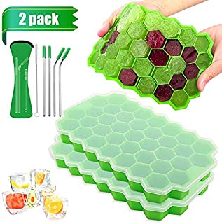 2 Pack Ice Cube Trays with Lids, 74 Ice Cube Food Grade BPA Free Silicone Flexible Ice Cube Molds, for Chilled Drinks, Whi...