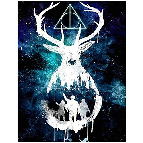 Artaslf 5D DIY pintura de diamante de dibujos animados de ciervo punto de cruz diamante bordado cuadrado completo mosaico decoración del hogar regalo - 40 x 50 cm sin marco