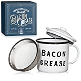 Golden Hills Mercantile Bacon Grease Container with mesh strainer - rustic mid-century modern farmhouse design, white enamel on metal, 4 inch x 4 inch vintage enamelware with lid (Black)