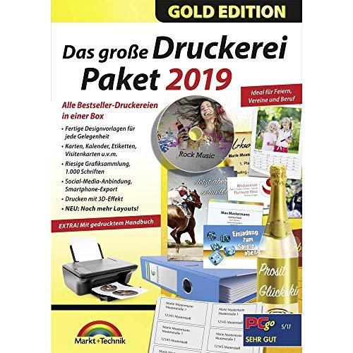 Markt und Technik Das große Druckerei Paket 2019 Vollversion, 1 Lizenz Windows Vorlagenpaket