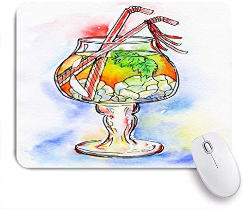SURERUIM Mauspad - Orange Bar Cocktail Saft Eis Minze Alkohol Essen Trinken Getränk Champagner Citrus Gin Glas Cold Retro - Gaming und Office rutschfeste Gummibasis Mauspads,240×200×3mm