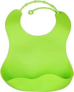 Dreamslink Lovely Baby Infants Kids Cute Silicone Waterproof Lunch Feeding Bibs, Green