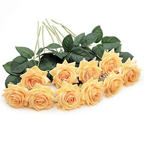 U'Artlines 10 STÜCKE Künstliche Blumen Rosen,Kunstblumen Rosen Einzelner Stiel Brautstrauß,Gefälschte Rose für Hochzeit(Orange)