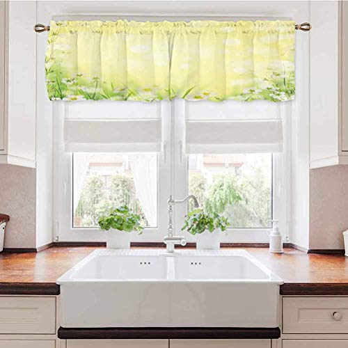 Adorise Valance Curtain Natural Field Wildflowers Sunshine Grass Springtime Blurred Image Print Yellow Tailored Valance/Swags Great for Your Laundry Room 42 x 18 Inch