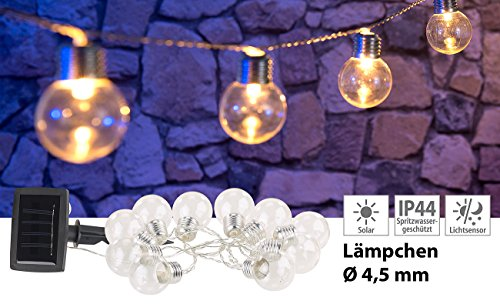Lunartec Mini Lichterkette Solar: Solar-LED-Lichterkette mit 10 LED Glühbirnen, 1,8 Meter, IP44 (Solar-LED-Lichterkette Outdoor)