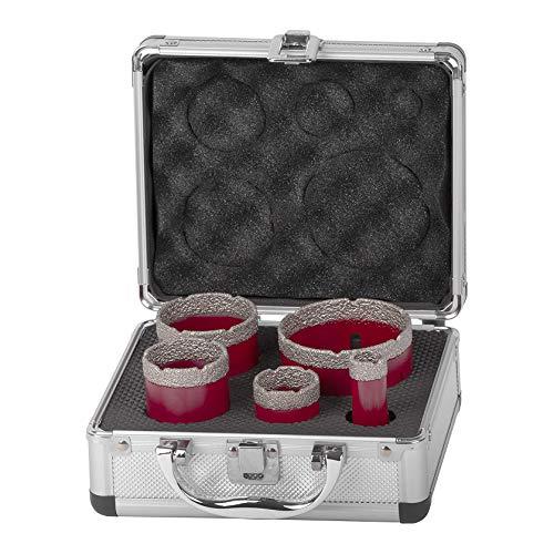 PaNt Kit de sierra de corona de diamante de 5 piezas, broca de núcleo de diamante para porcelana gres y brocas de núcleo para amoladora angular M14 Set con caja de aluminio, cerámica y granito/piedra
