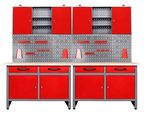 Ondis24 Werkstatteinrichtung rot 6-teilig Werkbank Werkzeugschrank Werkzeugwand/Lochwand mit Haken