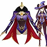GGOODD Lisa Minz Mujeres Vestido Púrpura Conjunto Completo con Sombrero Halloween Carnaval Fiesta Anime Juego de Aventuras Genshin Impact Cosplay Disfraz