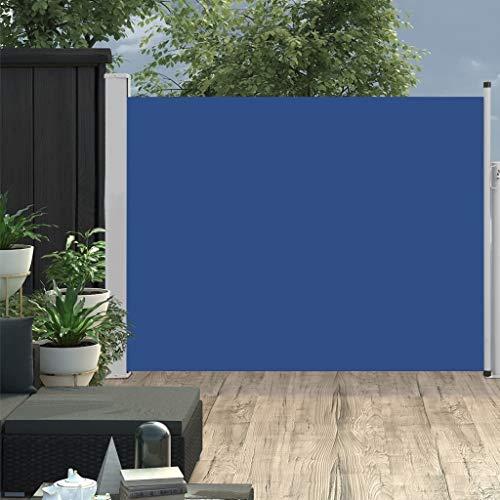 vidaXL Toldo lateral retráctil de jardín azul 140x500 cm