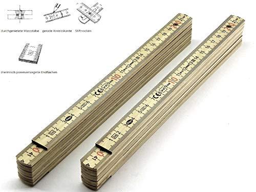 2 Stk. Adga 230 compact Edition natur Qualitäts Meterstab Holz 2m Dezimeter rot 180° Rastung gerade Anreisskante leicht und handlich