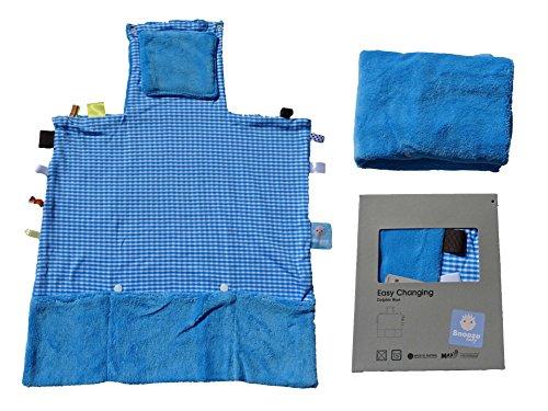 snoozebaby Matelas à langer 2 en 1 et chiffon pliable 36 x 36 x 54 cm, bleu, pour les déplacements