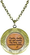 hakespeare's Macbeth Double, Double Toil and troublefire Burn and Cauldron Bubble Locket Necklace Literary Jewelry