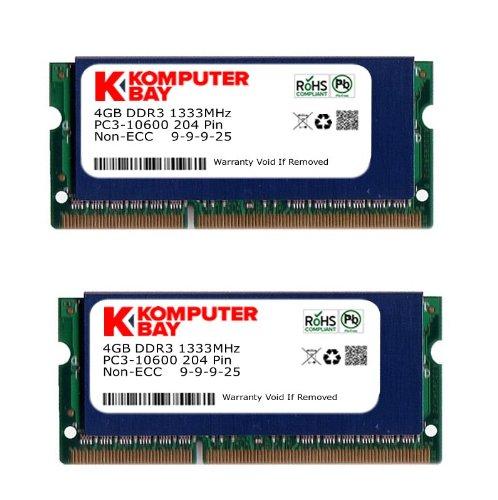 Komputerbay 8Go (2x 4Go) DDR3 SODIMM (204 broches) 1333Mhz PC3 10600 pour Apple 8Go avec SODIMM dissipateur thermique pour un refroidissement supplémentaire (9-9-9-25)