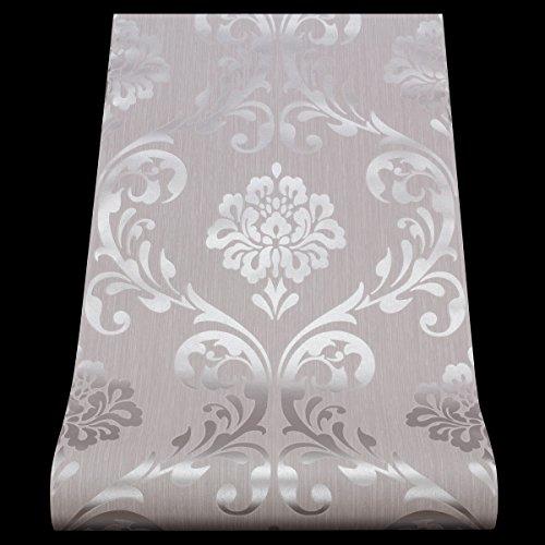 P & S International luxuriöse Tapete mit Damast-Muster, geprägte Strukturrolle SILVER WHITE 13110-50