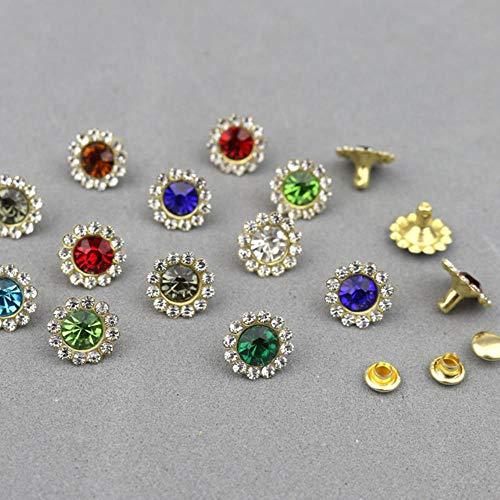 30-100 Sets 11mm Flores Forma Cristal Rhinestone Prendas Remaches Diamante Espárragos DIY Artesanías Artes Cuero Decoración Clavos Brocas, Remaches de colores mixtos, 100 Unids