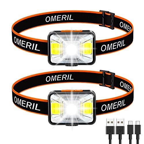 OMERIL Linterna Frontal LED USB Recargable (2 Piezas), Linterna Cabeza Muy Brillante, 5 Modos de Luz (Blanco y Rojo), IPX5 Impermeable, Mini Frontal LED para Niños, Correr, Acampar, Pescar, Ciclismo