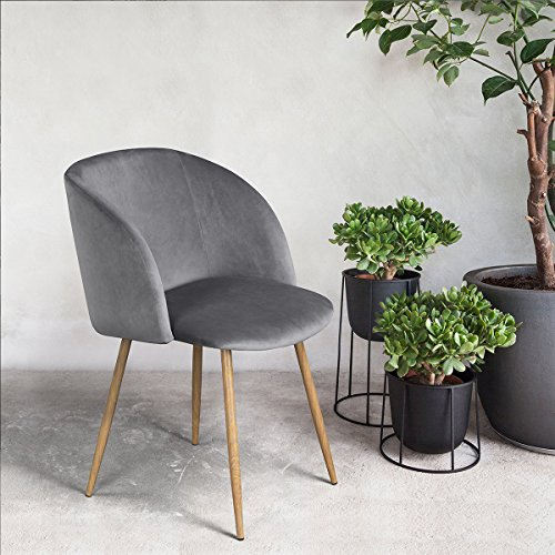 H.J WeDoo Esszimmerstühle 1 Stück Küchenstuhl Wohnzimmerstuhl Polsterstuhl Design Stuhl mit Armlehne, Sitzfläche aus Samt, Metallbeine, Grau
