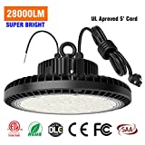 TREONYIA 200W UFO LED High Bay Light Lamp, 28000LM 1-10V Dimmable 5000K, UL Approved 5' Cable with Plug (800W Equivalent) 100-277V LED Lighting Fixture for Warehouse Garage - ETL/DLC Listed, IP65