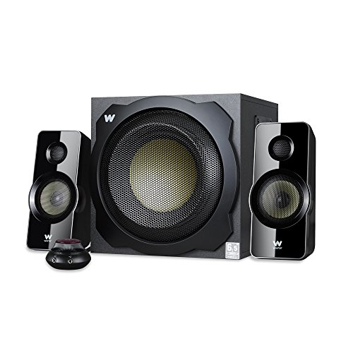 Woxter Big Bass 260 - Altavoces 2.1 (150W,Subwoofer de Madera,Control de Volumen con Cable y Doble conexión. Ideal para TV, PC y videoconsolas), Color Negro