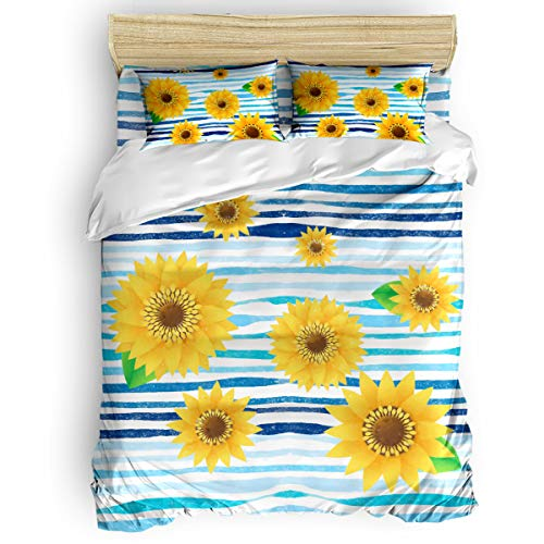 King Size Ultra Soft Bedding Duvet Cover Set with Zipper Closure Hotel Home Collection,Watercolor Sunflower Flower Print 4-Piece Set include 1 Comforter Cover 1 Flat Sheet 2 Pillow Shams