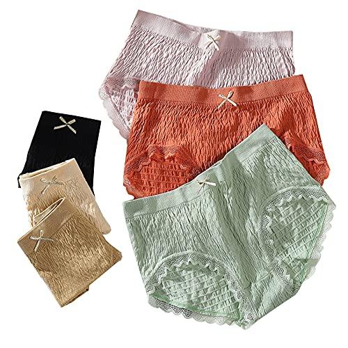 catch-L Ropa Interior De Mujer De Algodón Sin Costuras Transpirable Cintura Media Talla Grande Sexy Encaje Señoras Escritos(Size:Medio,Color:12pack)