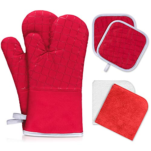 IXO 6Pcs Oven Mitts and Pot Holders, 500℉ Heat Resistant Oven Mitts with Kitchen Towels Soft Cotton Lining and Non-Slip Surface Safe for Baking, Cooking, BBQ …