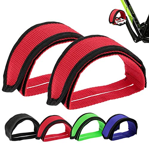 ZONSUSE Correas de Pedales, Pedales de Bicicleta Antideslizante Cinturón, Toe Clips Straps Cinta Correas de Velcro para Fijo Gear Bike, Accesorios de Seguridad para Bicicletas(Rojo)