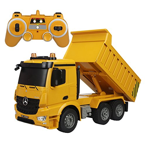 fisca Remote Control Mercedes-Benz Truck, 1/20 Scale 6 Channel 2.4Ghz RC Dump Truck Construction Vehicle Toy with LED Lights and Simulation Sound for Kids