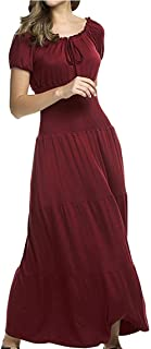 JHXS Ruffled Bow Tie Dress Short Sleeve Long Cake Skirt