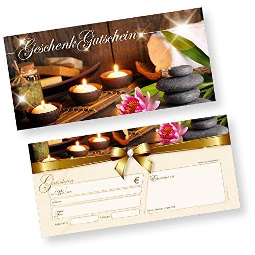 TATMOTIVE Geschenkgutschein Wellness (50 Stück) einfach Werte eintragen und stempeln, für Massage & Beauty