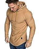 Mens Fashion Athletic Hoodies Sport Sweatshirt Solid Color Fleece Pullover Khaki XL