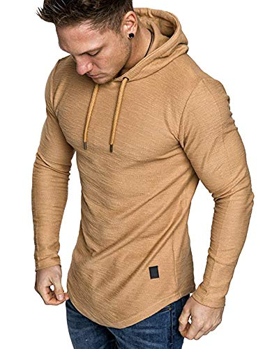 lexiart Mens Fashion Athletic Hoodies Sport Sweatshirt Solid Color Fleece Pullover Khaki 2XL