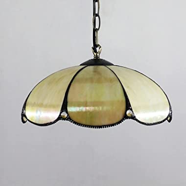 Tiffany Style Ceiling Pendant Lighting, Modern Dining Room Light Fixture 12 inch Stained Glass Hanging Lamp for Kitchen,Entry